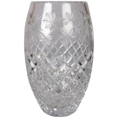 Antique Hawkes School Brilliant Cut Crystal Maple Leaf Vase, 20th Century