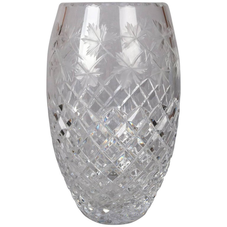 Antique Hawkes School Brilliant Cut Crystal Maple Leaf Vase, 20th Century For Sale