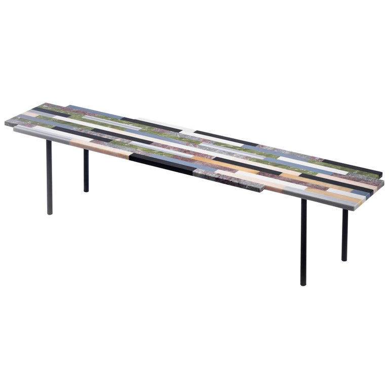 Zig Zag Marble Coffee Table, Linear Structure