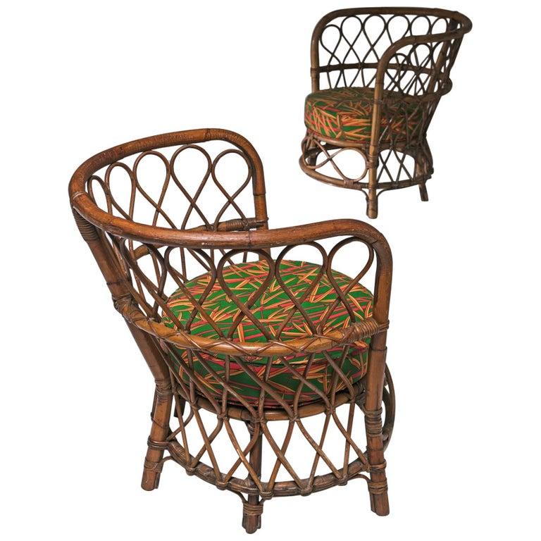 Set of Two Italian 1950s Wicker Chairs