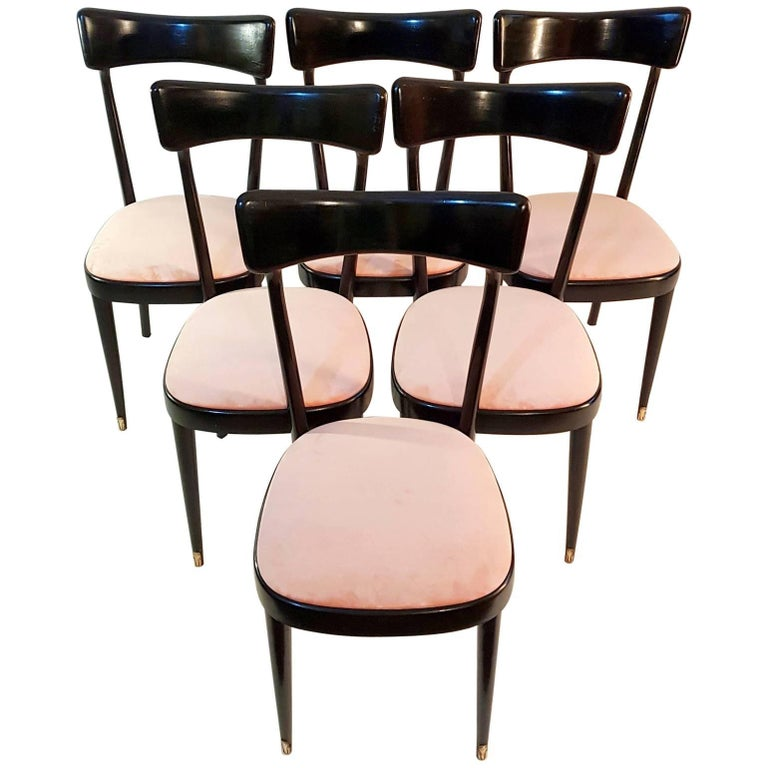 Six Midcentury Dining Chairs in the Manner of Ico Parisi Italy