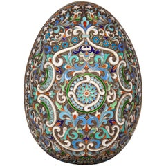 Russian Faberge Style Cloisonne Enamel Egg