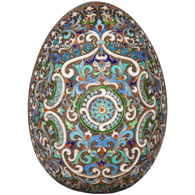 Russian Faberge Style Cloisonne Enamel Egg