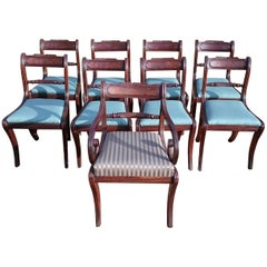 Early 19th Century Regency Mahogany Set Of Nine Antique Dining Chairs