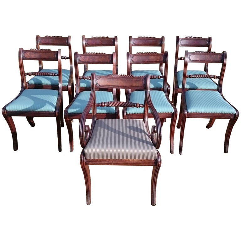 Early 19th Century Regency Mahogany Set Of Nine Antique Dining Chairs For Sale