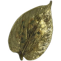 1940s Virginia Metalcrafters Brass Mulberry Leaf Sculpture