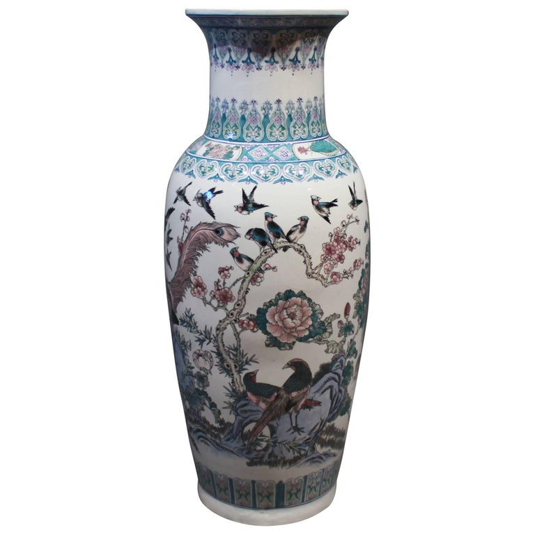 Large Chinese Floor Vase In Light Blue Colors With Beautiful