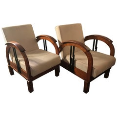Pair of French 1930 Art Deco Colonial Style Wood Armchairs