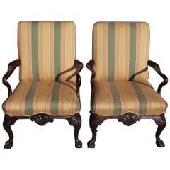 Pair of Irish Chippendale Mahogany Shepards Crook Library Armchairs, Circa 1760