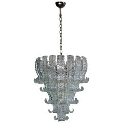 Italian Murano Six-Tier Felci Glass Chandelier, 52 Glasses