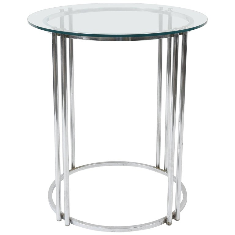 Chromed Steel and Glass Cocktail or display table