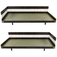 Pair of Mid Century Wood and Brass Daybeds
