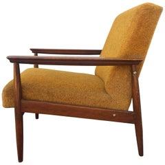 Vintage Danish Style Armchair 1960 Original Yellow Fabric Italy