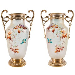 Pair of German Antique Enamel and Frosted Glass Vases by WMF