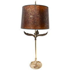 Table Lamp in Polished and Antique Brass with a Mica Shade