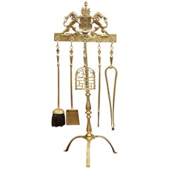 19th Century French Brass Fireplace Tool Set on Stand with Coat of Arms