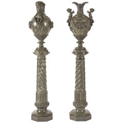 Italian Green Marble Pedestals with Carved Vases