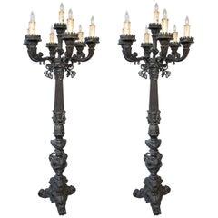Pair of Bronze Renaissance Style Torchieres
