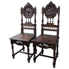 Pair of Gothic Style Side Chairs