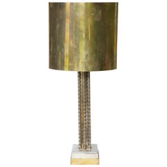 Mid-Century Modern Brutalist Table Lamp Polished Steel and Brass, 1960s