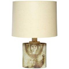 Mid-Century Modern Ceramic Table Lamp signed Capron Valauris Paris France