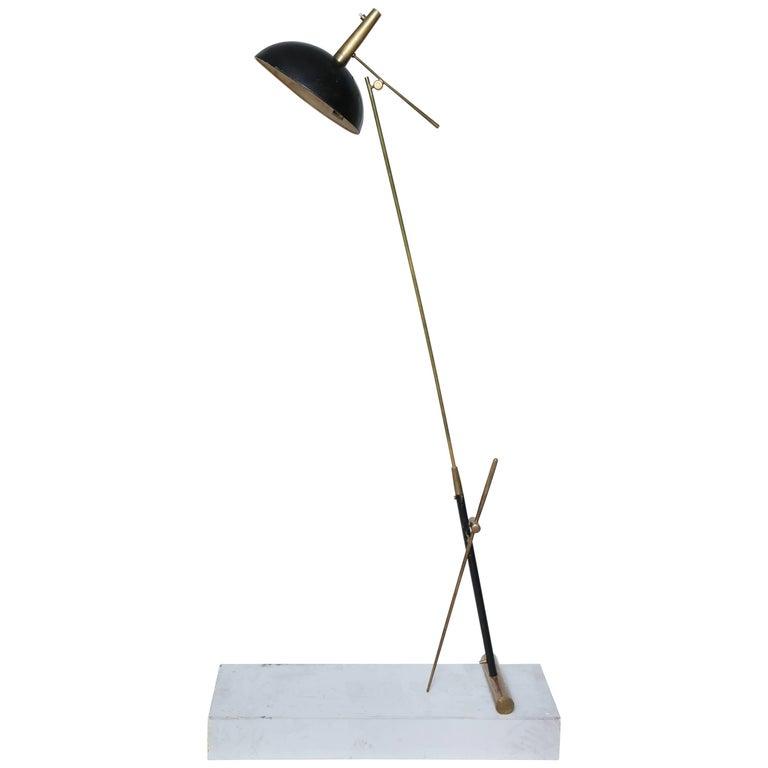 Mid-Century Modern Articulated Floor Lamp signedLyon JP Vincent France 1950s For Sale