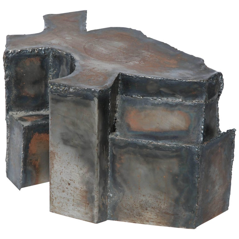 Brutalist Sculptural Mid-Century Modern End Table Patinated Metal, 1970s