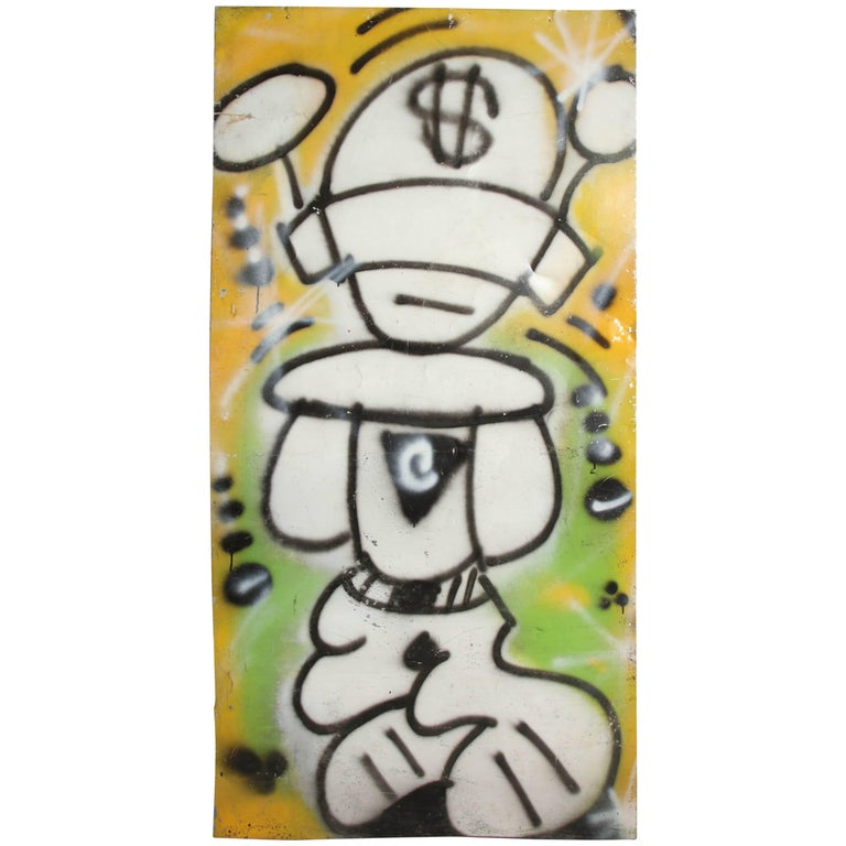 Graffiti Painting Signed Crane Spray Paint, 1980s Fun Gallery East Village For Sale