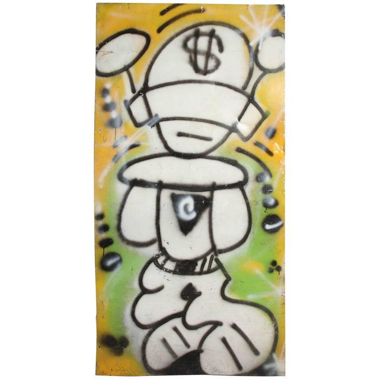Graffiti Painting Signed Crane Spray Paint, 1980s Fun Gallery East Village