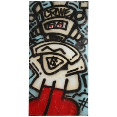 Graffiti Painting Signed Crane Spray Paint on Tin 1980s Fun Gallery Eat Village