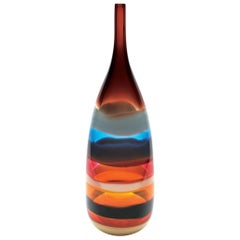Large Cranberry Red Banded Tall Glass Bottle by California Designer Caleb Siemon