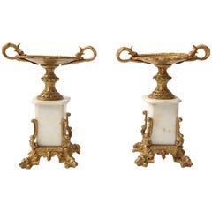 Pair of 19th Century Napoleon III Style Fireplace Garnitures in Gilt Gold