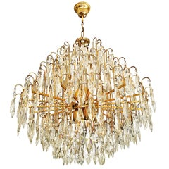 Italian murano cut crystal chandelier Brass frame gold-plated fitted ,1970
