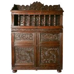 17th Century Antique Housekeepers Oak Food Cupboard, Bread Hutch