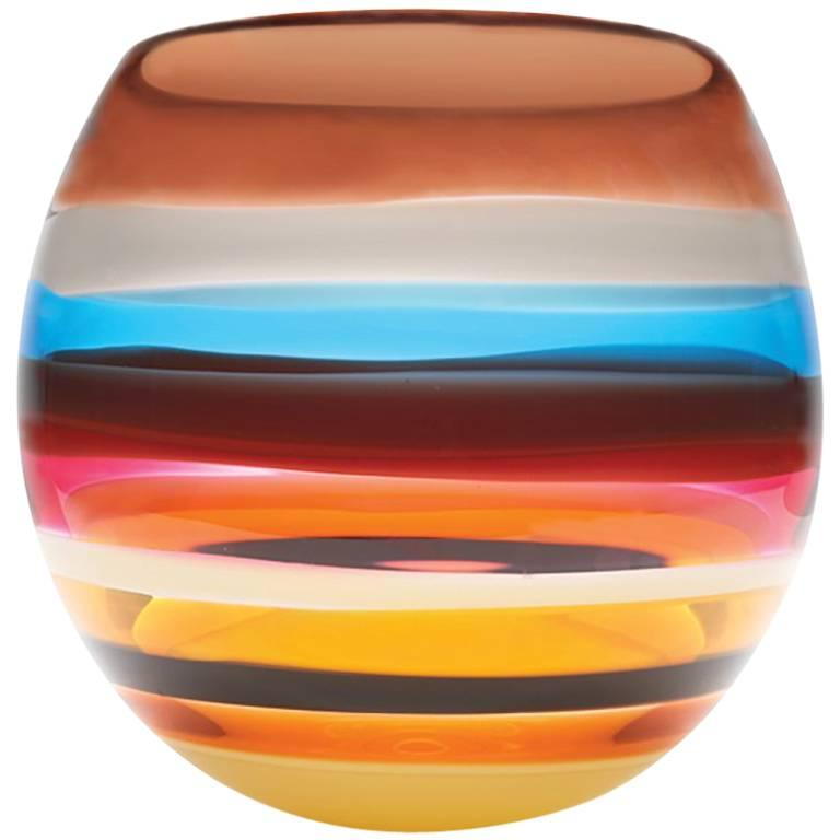 Cranberry Red Blown Glass Barrel Vase by California Designer Caleb Siemon