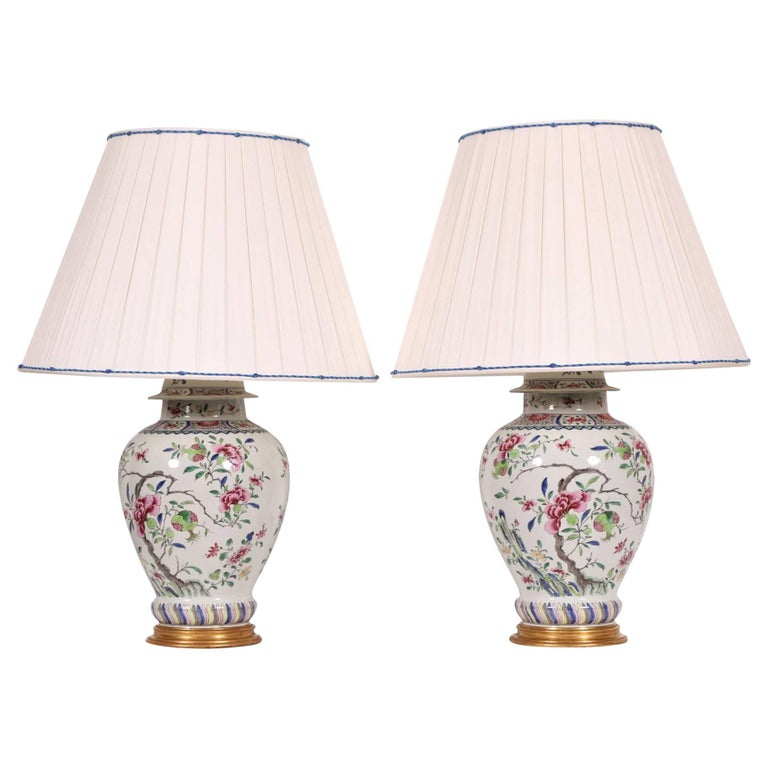 Pair Of Antique Famille Rose Porcelain Ginger Jar Lamps