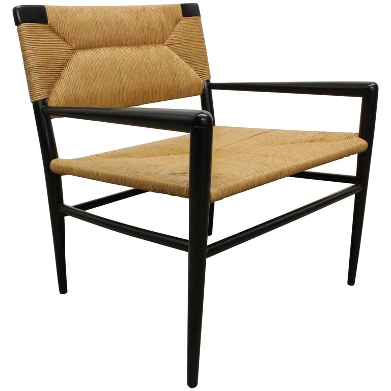 Woven Rush Armchair by Mel Smilow, 1950s For Sale