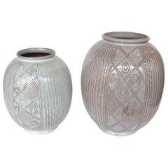 Pair of Large Cream Dutch Spinx Vases by Wim Visser 1950's