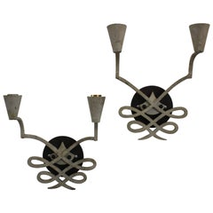 Pair of 1940s French Iron Sconces