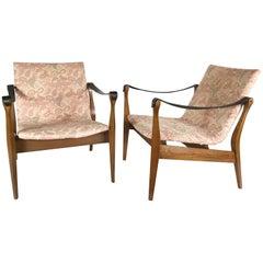 Midcentury Fritz Hansen Safari Chairs by Karen & Ebbe Clemmensen, 1960s, Denmark