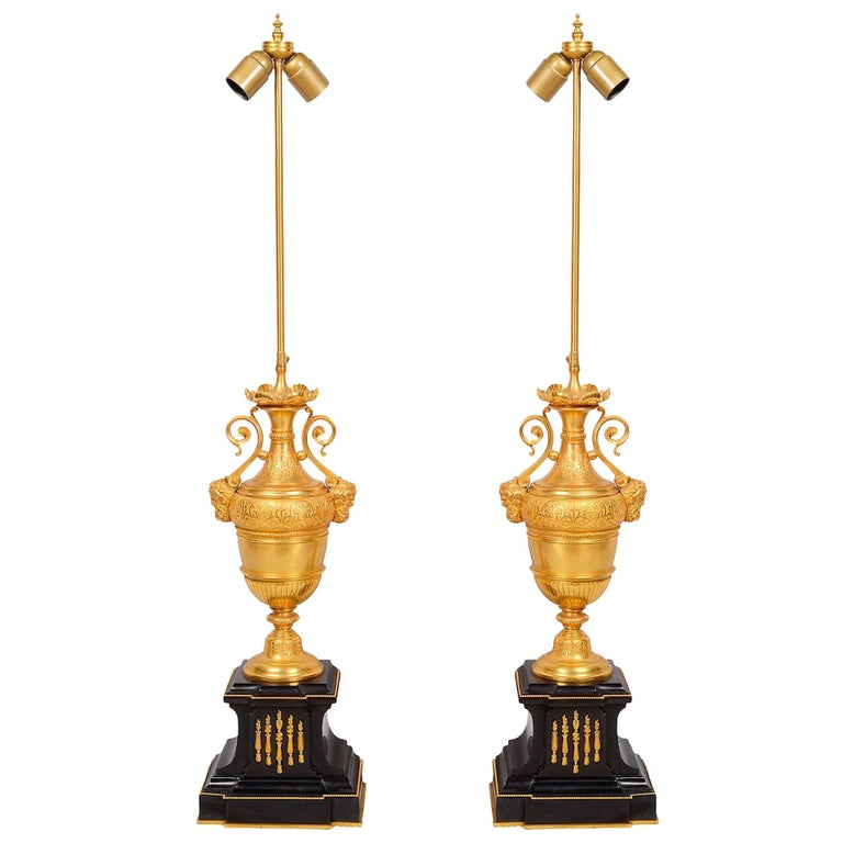 Pair of Classical 19th Century Gilded Lamps For Sale