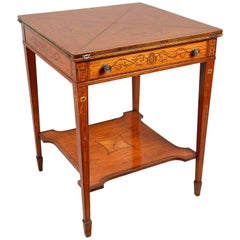 Edwardian Satinwood Inlaid Card Table