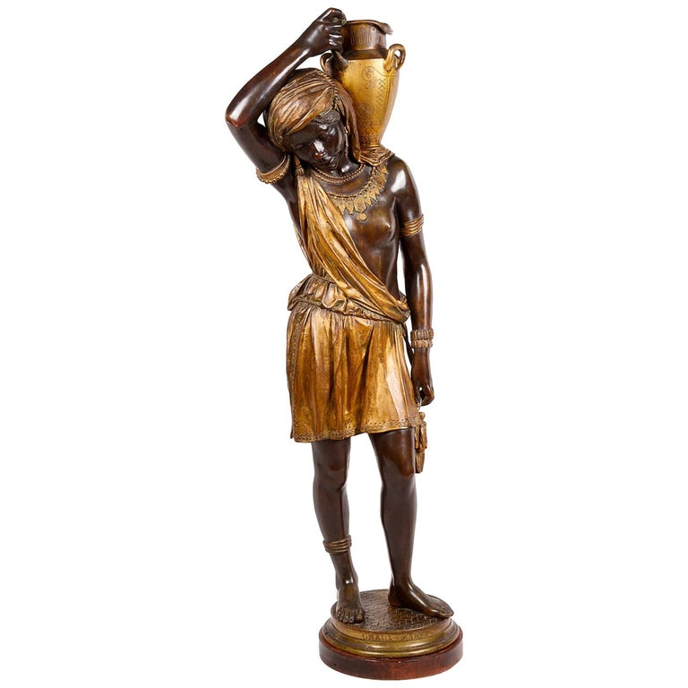 Large 19th Century Nubian Bronze Statue For Sale
