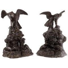 Pair 19th Century Bronze Eagles