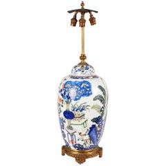 Chinese 19th Century clobbered Vase Lamp