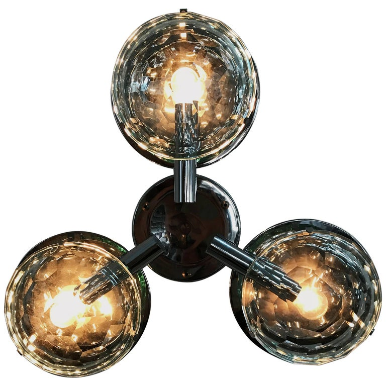 Multifaceted Three-Light Flush Mount by Pia Guidetti Crippa for Lumi, circa 1960 For Sale
