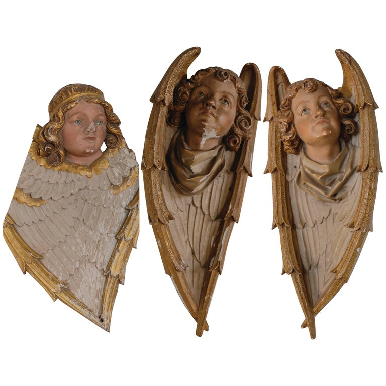 Set of Three Painted Angels