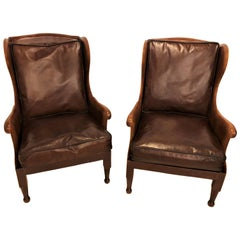 Pair of Fine Leather Lounge or Bergere Wingback Chairs
