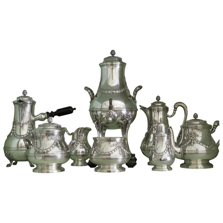 Antique Sterling Silver Complete Chocolate Tea and Coffee Set by Aucoc