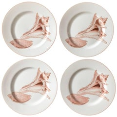 1976 Fitz and Floyd Coquille Salad Plates, Set of Four